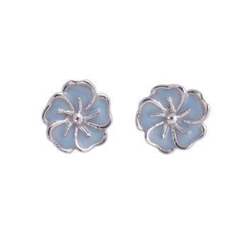 526ab15b318 L & G Sterling sølv ørestikker, Blomst med blank overflade, model 102403