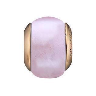 Christina Collect forgyldt sølv rosa quartz kugle til læderarmbånd, Rose quartz magic med blank overflade, model 630-G143