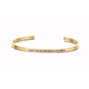 "GSD Key Moments ""Love you to the moon and back"" rustfrit stål Dame armring guldfarvet, model 8KM-B00044"