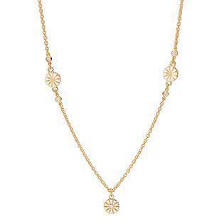 Lund Copenhagen, 7,5 mm Marguerit 925 sterling sølv Collier 24 karat forgyldt, model 9025012-30-M