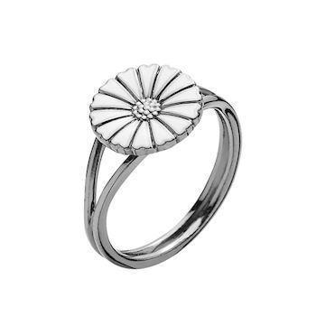 Lund Copenhagen Marguerit 925 sterling sølv fingerring sort rhodineret, model 907011-H-RH