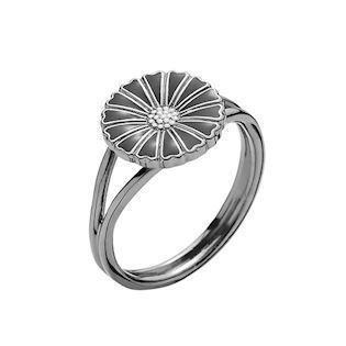 Lund Copenhagen Marguerit 925 sterling sølv fingerring sort rhodineret, model 907011-S-RH