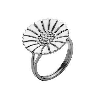 Lund Copenhagen Marguerit 925 sterling sølv fingerring sort rhodineret, model 907018-H-RH
