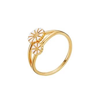 Lund Copenhagen 5 mm og 7,5 mm marguerit 24 karat forgyldt fingerring, model 9075008-M