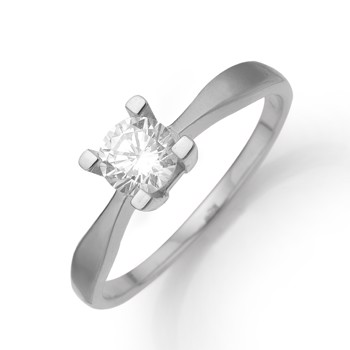 Aagaard 8 kt hvidguld Eternity 4 grab fingerring med 1 x 0,05 ct Diamanter