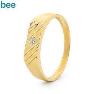 Bee Jewelry Men´s Diamond Ring 9 kt guld fingerring blank, model 23492