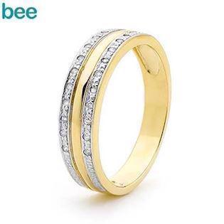 Bee Jewelry Diamond Set Dress 9 kt guld fingerring blank, model 25378