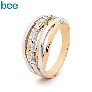 Bee Jewelry Diamond strudded 9 kt guld fingerring blank, model 25541