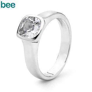 Bee Jewelry Bezel Ring sølv Fingerring blank, model 35310-CZ