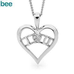 Bee Jewelry I Love U sølv Collie blank, model 35453-CZ