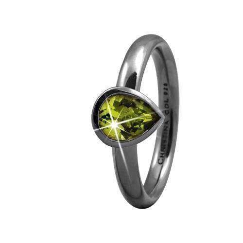 Christina Collect sort s�lvring - Peridot Pearl