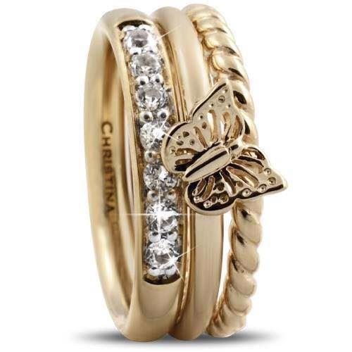 Butterfly Diamond Christina Collect forgyldte samle ringe