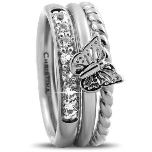 Butterfly Diamond Christina Collect s�lv samle ringe