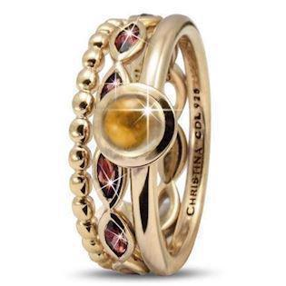 Citrine Mystery Christina Collect forgyldte samle ringe