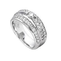 Bred Diamonfire fingerring i sterling s�lv med zirkonia