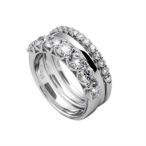 Diamonfire 3 fingerringe i sterling s�lv med zirkonia