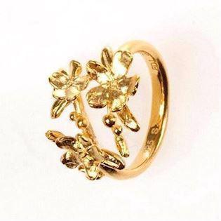 Flora Danica mat forgyldt forglemmigej ring