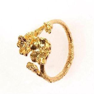 Flora Danica forgyldt forglemmigej ring