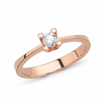 Nuran 14 kt rosaguld fingerring, fra Star 4 grab serien med 1 x 0,03 ct Diamanter Wesselton SI