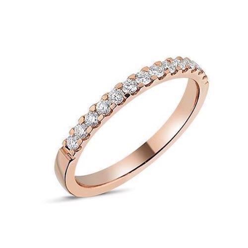 Memories by Nuran, 14 karat rosaguld 2,25 mm ring med 13 x 0,02 ct brillanter, ialt 0,26 ct