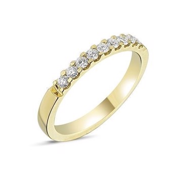 Memories by Nuran, 14 karat guld 2,5 mm ring med 9 x 0,03 ct brillanter, ialt 0,27 ct