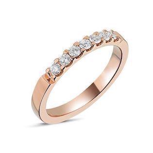 Memories by Nuran, 14 karat rosaguld 2,6 mm ring med 7 x 0,04 ct brillanter, ialt 0,28 ct