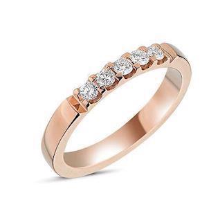 Memories by Nuran, 14 karat rosaguld 2,8 mm ring med 5 x 0,05 ct brillanter, ialt 0,25 ct