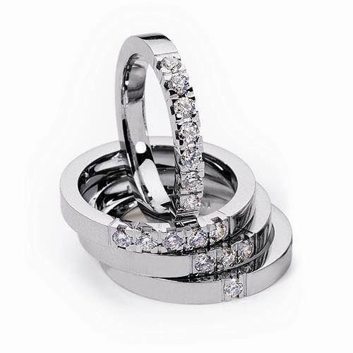 2,9 mm Klassisk Alliance ring i 14 karat hvidguld med 1 stk 0,05 ct W VVS brillant