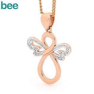 Bee Jewelry Angel 9 karat blank rosaguld med diamanter, model 65599