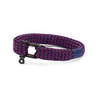 Pig & Hen herrearmbånd, Sharp Simon, navy / purple flat rope med sort sejlerlås