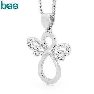 Bee Jewelry Angel 9 karat blank hvidgulds med diamanter, model 65599