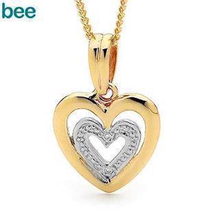 Bee Jewelry 9 kt guld hjerte med diamanter - 2 stk 0,005 ct i,  model 65410