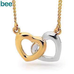 Bee Jewelry Two Hearts 9 kt guld collier blank, model 65450