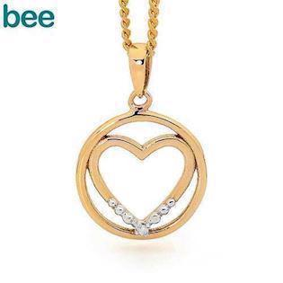 Bee Jewelry Heart in Circle 9 kt guld collier blank, model 65574