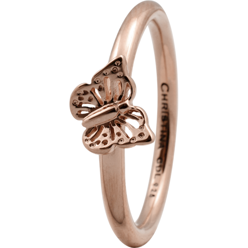 Christina Collect rosa forgyldt samle ring - Butterfly