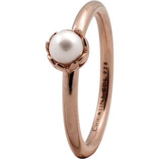 Christina Collect rosa forgyldt samle ring - Pearl Flower med perle*