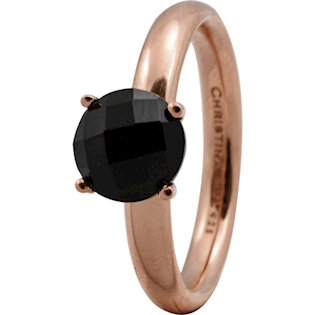 Christina Collect rosa forgyldt samle ring - Black Onyx*