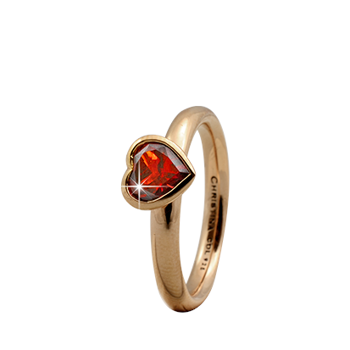 Christina Collect forgyldt samle ring - Garnet Big Heart