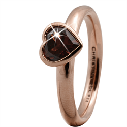 Christina Collect rosa forgyldt samle ring - Garnet Big Heart