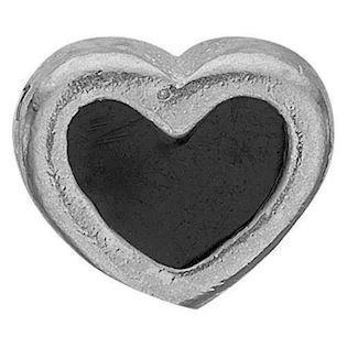 Christina Collect 925 sterling sølv Black Enamel Heart Lille sølv hjerte med sort emalje, model 603-S4
