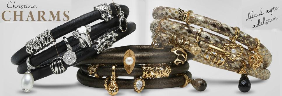 Christina populære læderarmbånd med charms i sølv, forgyldt, rosa eller sort