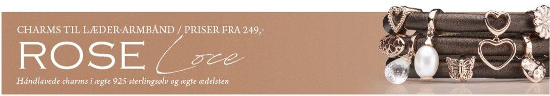 Christina's rosa sølv charms til dit Italienske læderarmbånd - skab dit helt eget smykke