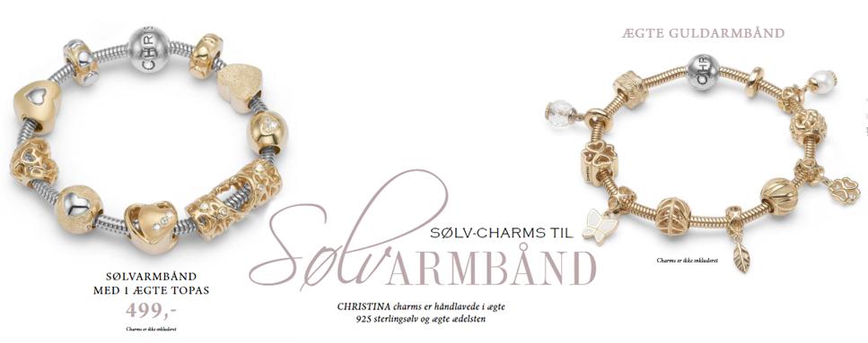 Christina's nye slange armbånd med ægte sølv charms og ædelsten
