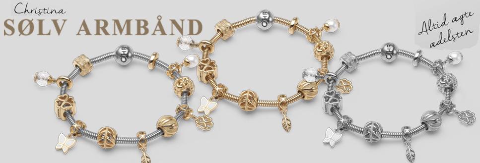 Christina lækre slange armbånd i sølv med 100'vis af charms