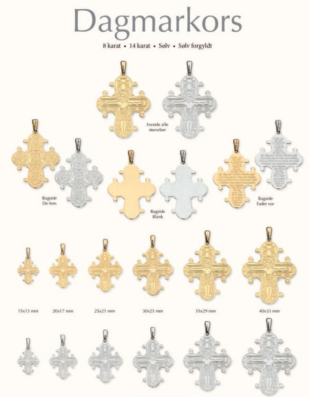 Dagmarkors oversigt på Guldsmykket.dk - 6 størrelser, 4 metaler og 3 typer