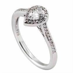 Diamonfire Fingerring i sterling s�lv med dr�beformet zirkonia