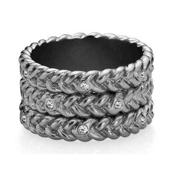 Love Braid-large, sort rhodineret sølv ring fra Izabel Camille