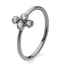 Izabel Camille Tri 925 sterling sølv Fingerring blank sort, model A4076ssr