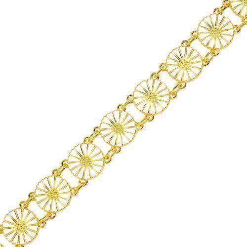 b0329b03723 Lund Marguerit armbånd i forgyldt sølv med hvid emaljeret 11,0 mm blomster