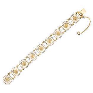 cc0222cb036 Lund Marguerit armbånd i forgyldt sølv med hvid emaljeret 18,0 mm blomster
